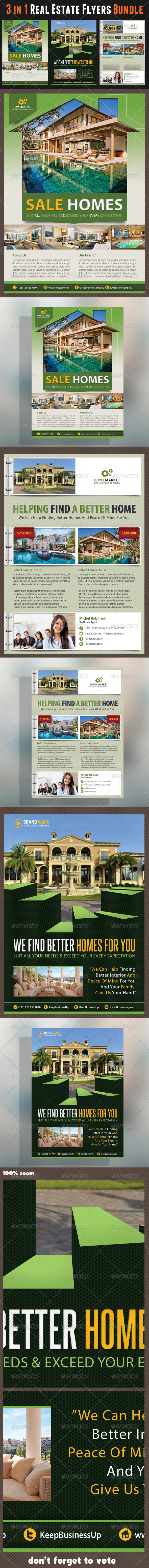 3 in 1 Real Estate Corporate Flyer Bundle 01 - Commerce Flyers