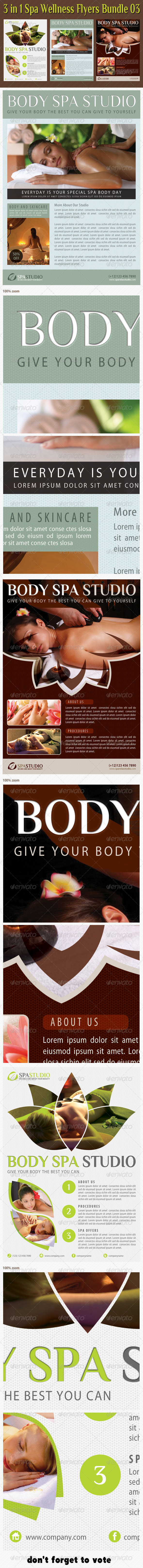 3 in 1 Spa Wellness Flyers Bundle 04 - Flyers Print Templates