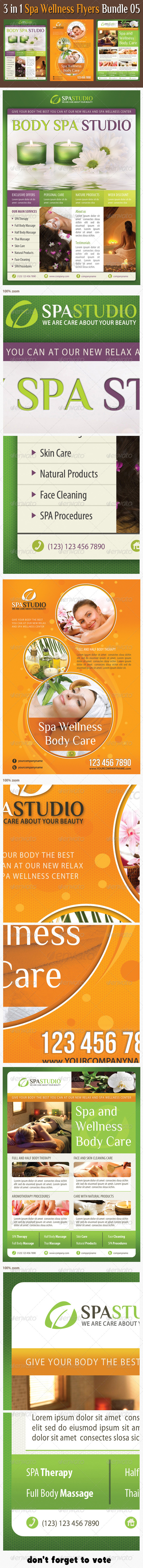 3 in 1 Spa Wellness Flyers Bundle 05 - Flyers Print Templates