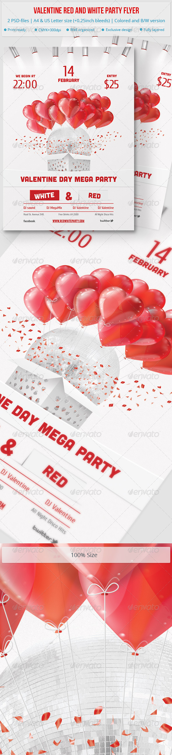 Valentine Red and White Party Flyer - Clubs & Parties Events