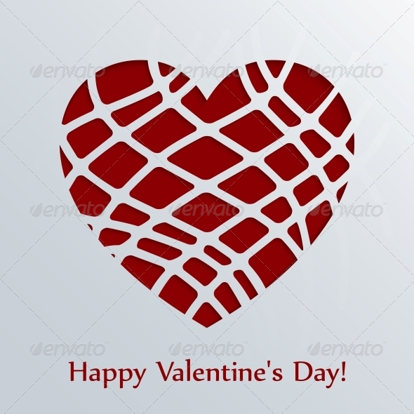 Valentines Day Card with Heart. - Valentines Seasons/Holidays