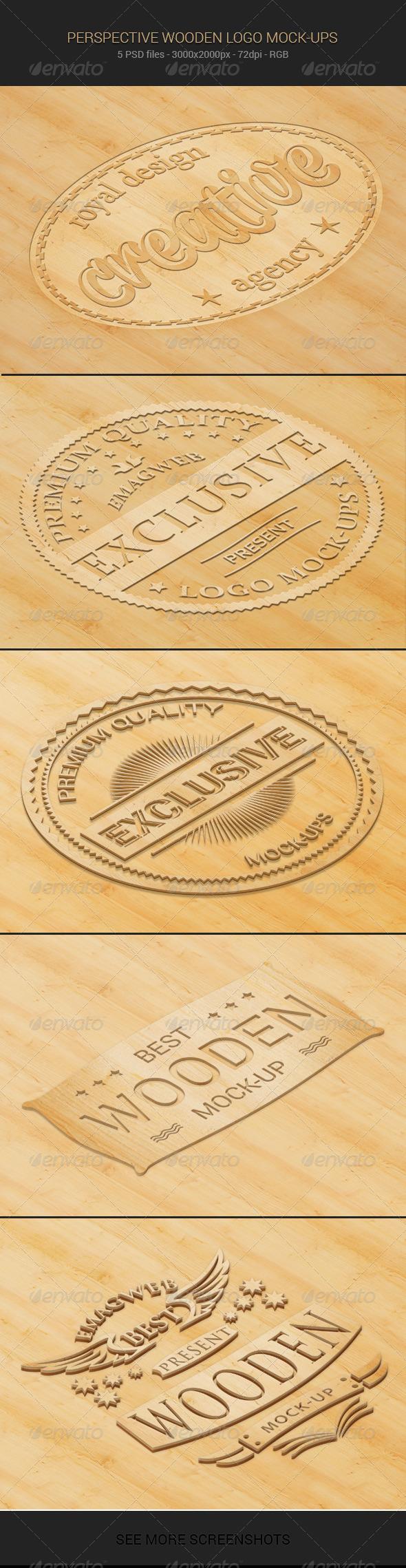 Perspective Wooden Logo Mock-ups - Logo Product Mock-Ups