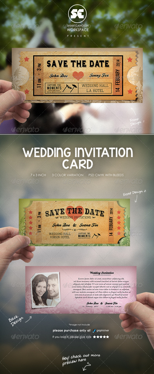 Wedding Card Invitation Old Ticket Style - Weddings Cards & Invites