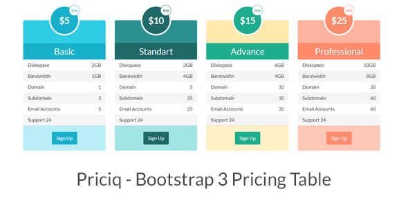 Priciq – Bootstrap 3 Pricing Table