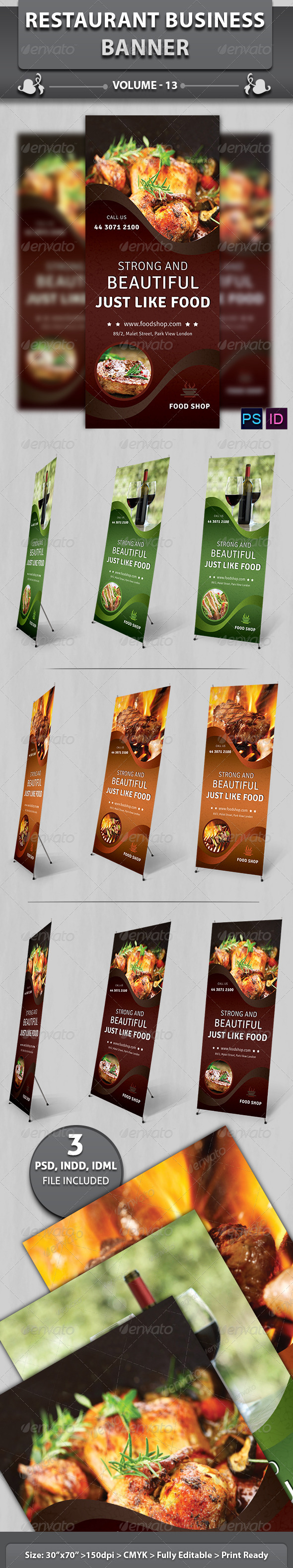 Restaurant Business Banner | Volume 13 - Signage Print Templates