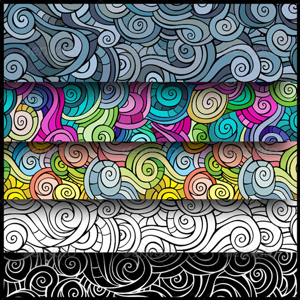 Curls Seamless Pattern Set - Backgrounds Decorative