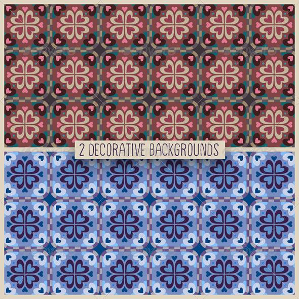 2 Decorative Heart Patterns - Backgrounds Decorative