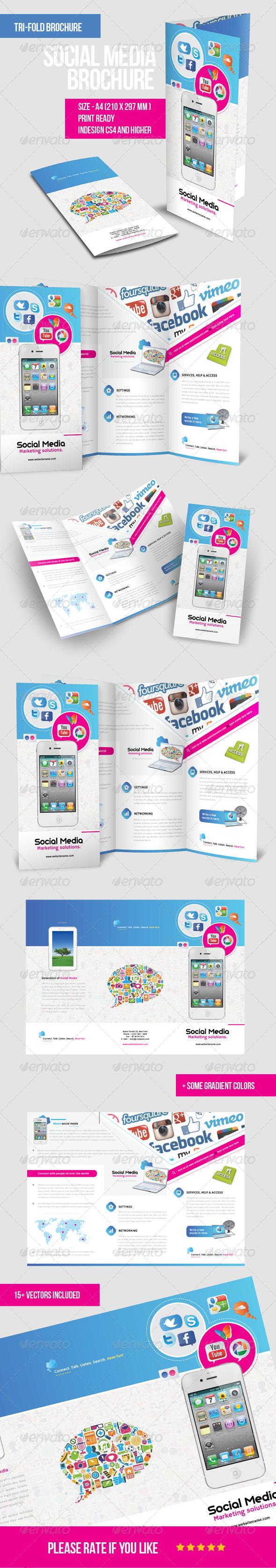 Mobile & Social Media Tri - fold Brochure - Brochures Print Templates