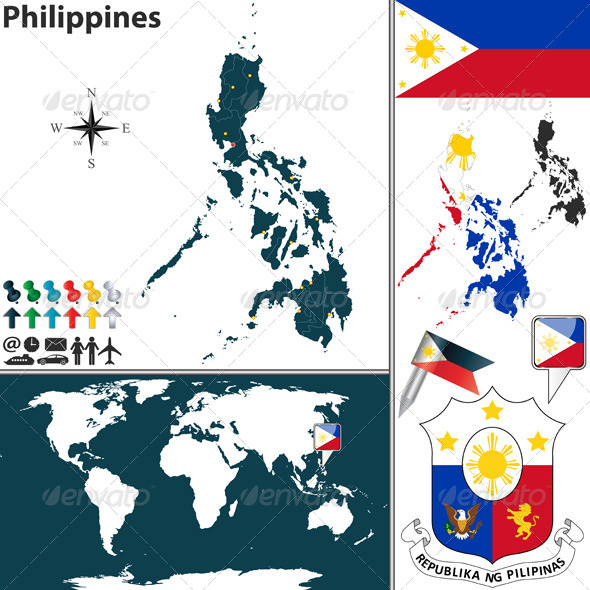 Map of Philippines - Travel Conceptual