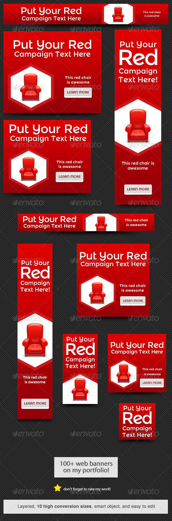 Elegant Red Web Banner Design - Banners & Ads Web Elements