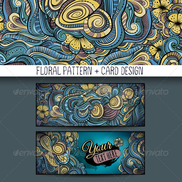 Decorative Floral Pattern and Card Design - Decorative Vectors