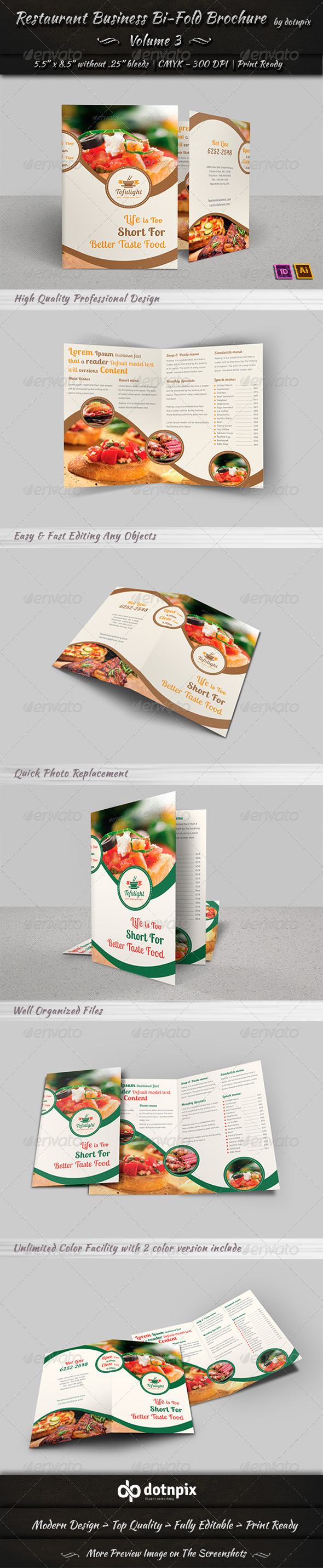 Restaurant Business Bi-Fold Brochure | Volume 3 - Brochures Print Templates