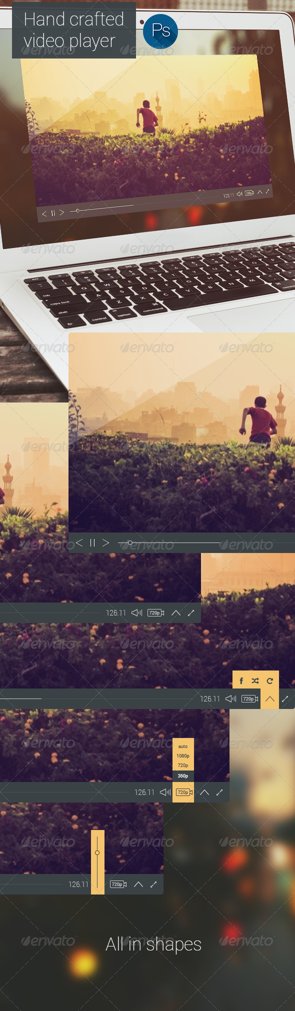 Flat Style Video Player - Miscellaneous Web Elements