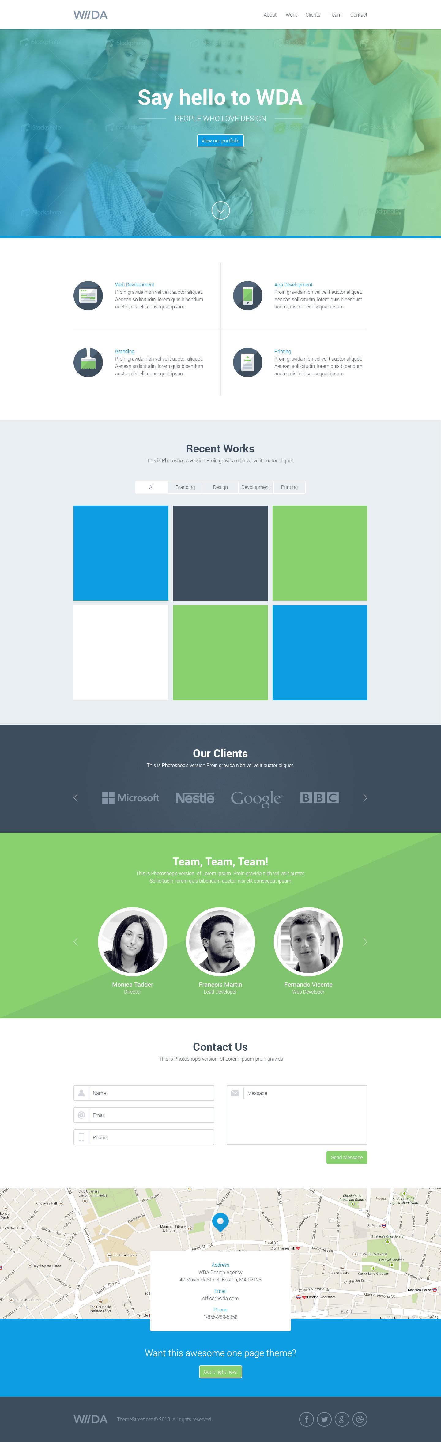 WDA - Creative Responsive Landing Page by ThemeStreetNet   ThemeForest