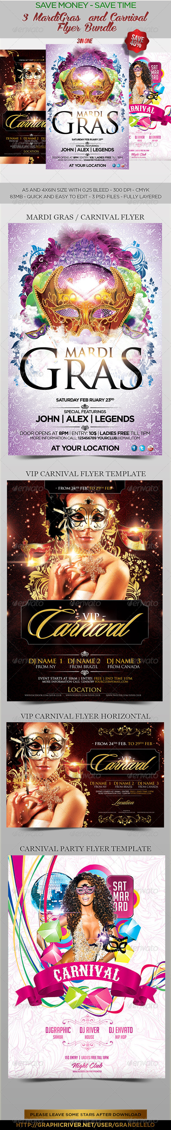 3 MardiGras n Carnival  Flyer Bundle - Events Flyers