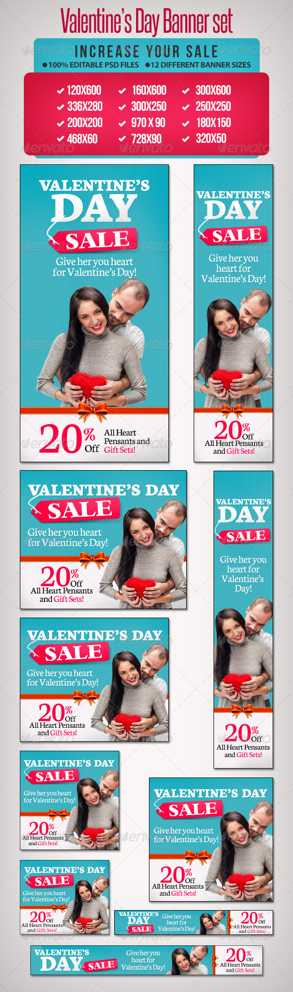 Valentine's Day Banner Set 4 - Banners & Ads Web Elements
