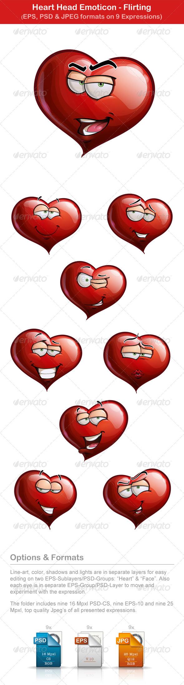 Nine Heart Head Emoticons - Flirting - Valentines Seasons/Holidays