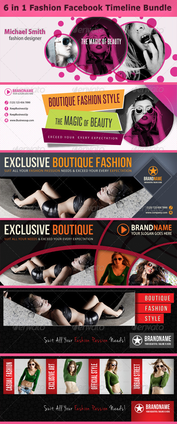 6 in 1 Fashion Facebook Timeline Bundle - Facebook Timeline Covers Social Media