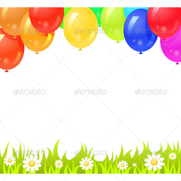 Background with Colorful Balloons - Backgrounds Decorative
