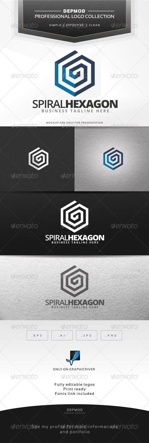 Spiral Hexagon Logo - Abstract Logo Templates