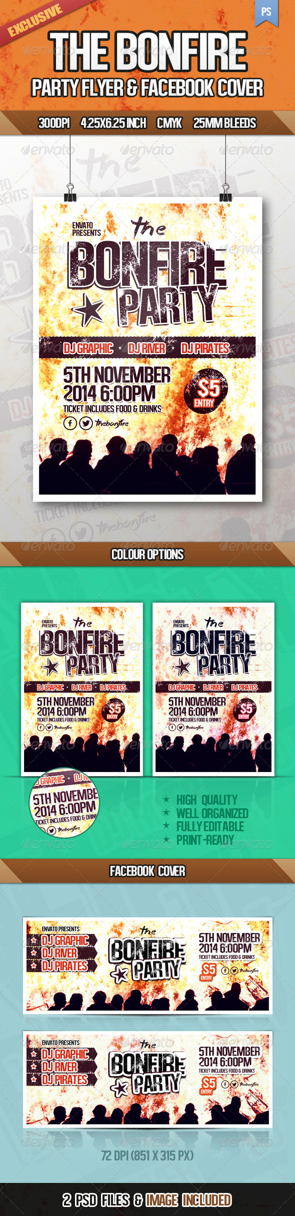 The Bonfire Party Flyer - Events Flyers
