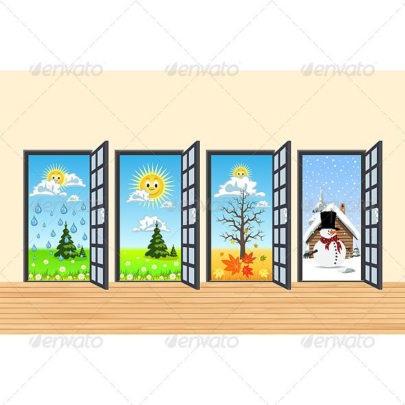 Spring Summer Autumn Winter Four Doors - Seasons/Holidays Conceptual