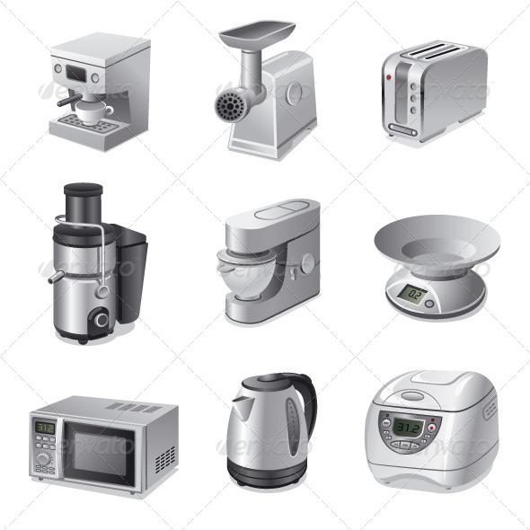 Kitchen Appliances Icon Set - Icons