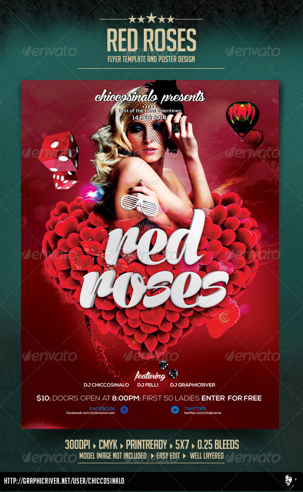 Red Roses Flyer Template By Chiccosinalo | Graphicriver