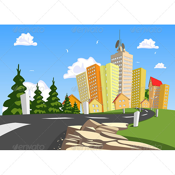 City surrounded by Nature - Buildings Objects