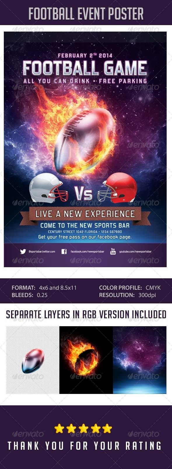 Flyer Football Event Template - Sports Events