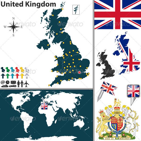 Map of United Kingdom - Travel Conceptual