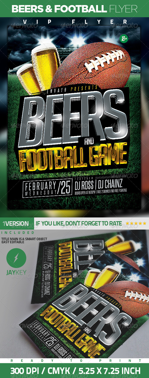 Beers and Football Flyer - Sports Events
