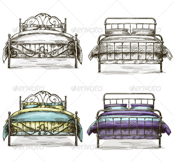 Set of Sketch Beds - Man-made Objects Objects