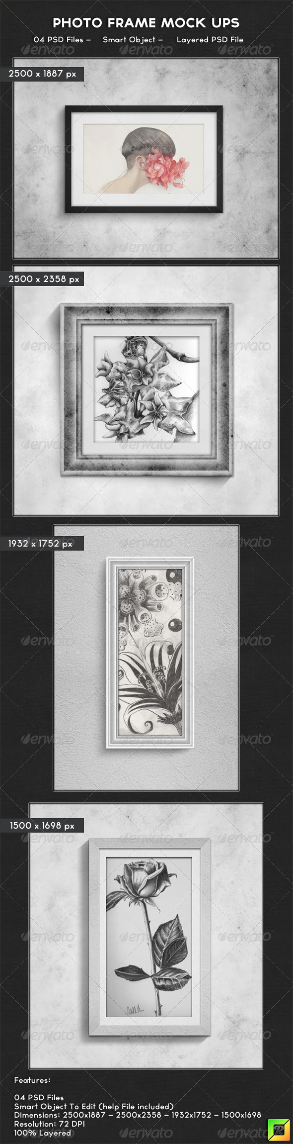 Photo Frame Mock Ups - Photo Templates Graphics