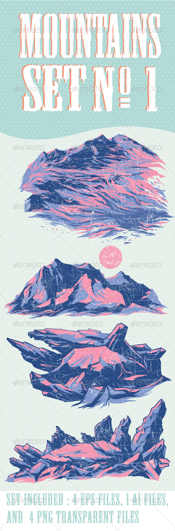 Mountains Set No.1 - Vectors