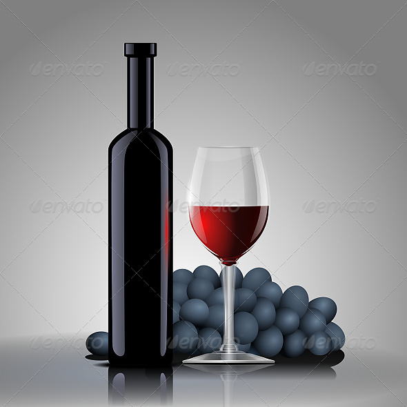 Bottle with Red Wine with a Glass and Grapes - Vectors