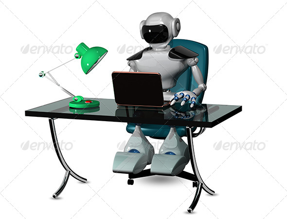 Robot at the Table - Abstract 3D Renders