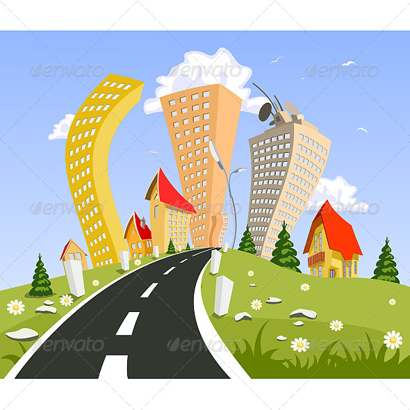 Abstract City Surrounded by Nature Landscape - Buildings Objects