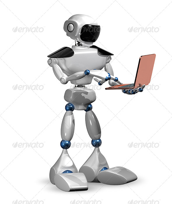 Robot with a Laptop - Abstract 3D Renders