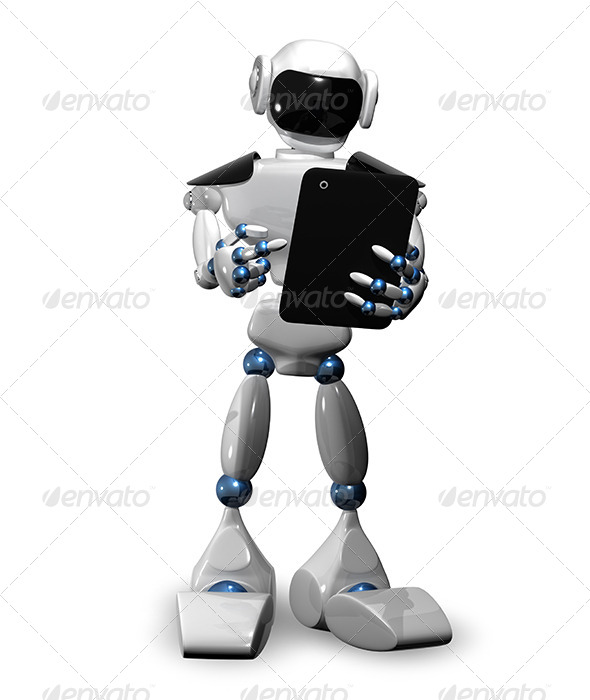 Robot with Tablet - Abstract 3D Renders