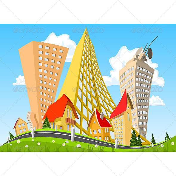 Abstract Vector City Surrounded by Nature Landscape - Buildings Objects