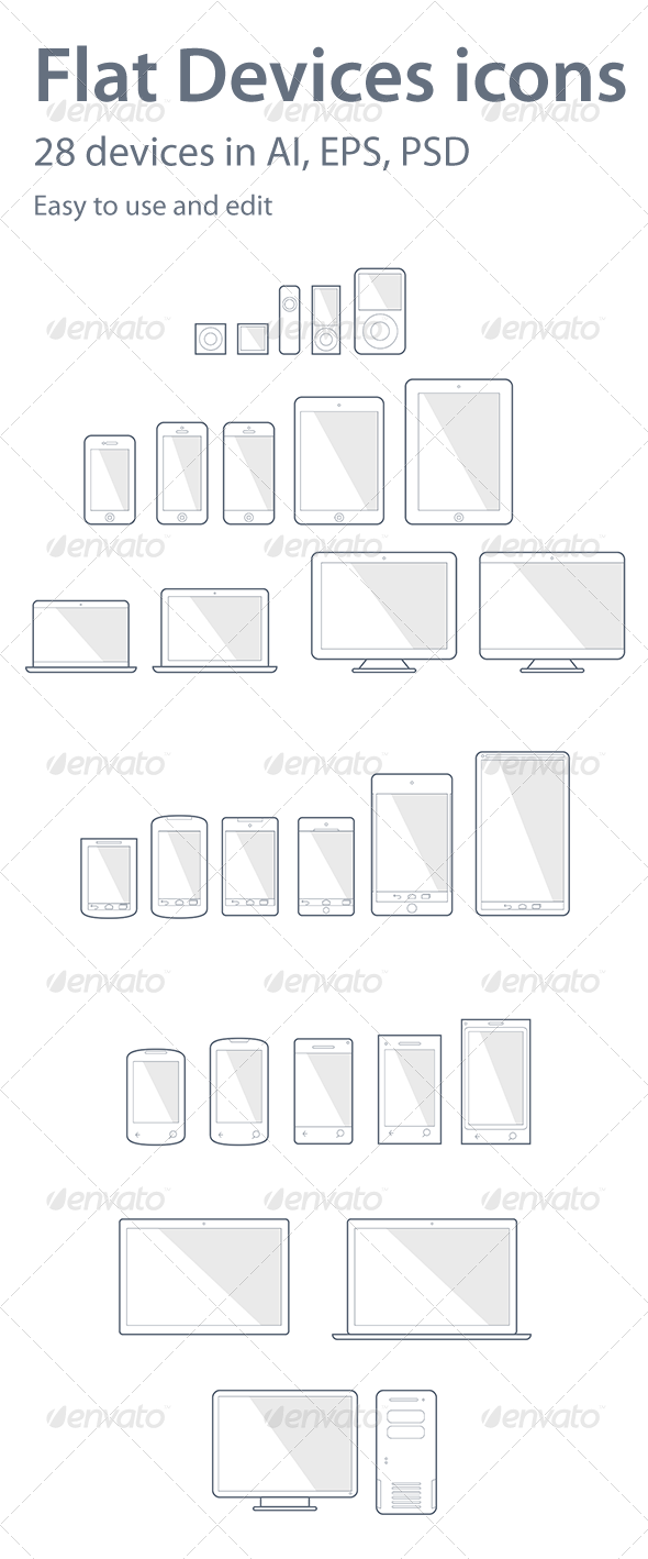 28 Devices Icons - Technology Icons
