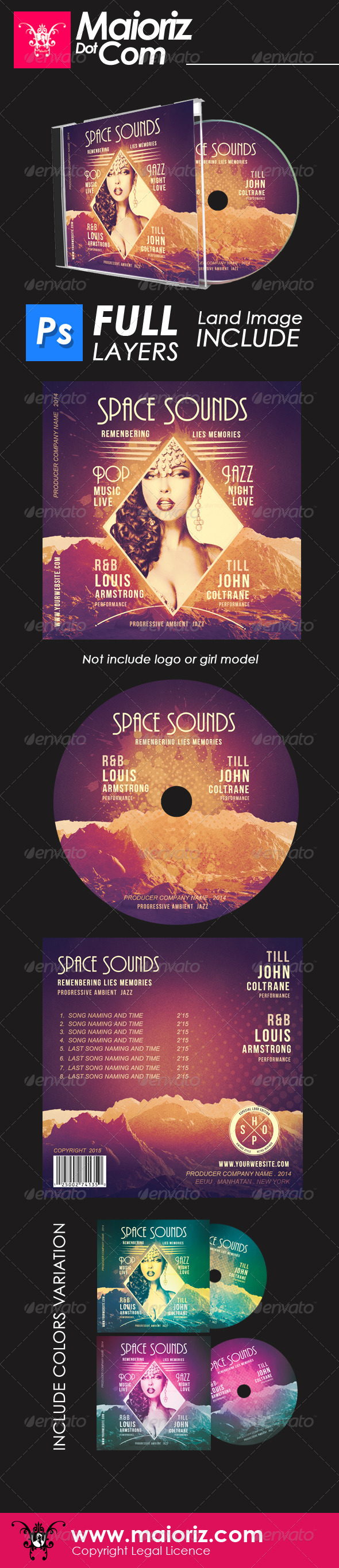 Space Sounds Cd Artwork - CD & DVD Artwork Print Templates