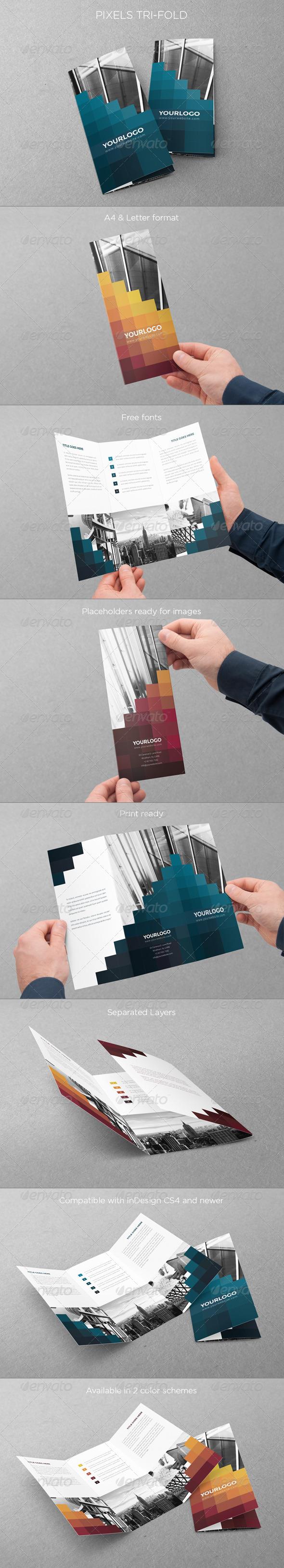 Pixels Trifold - Brochures Print Templates