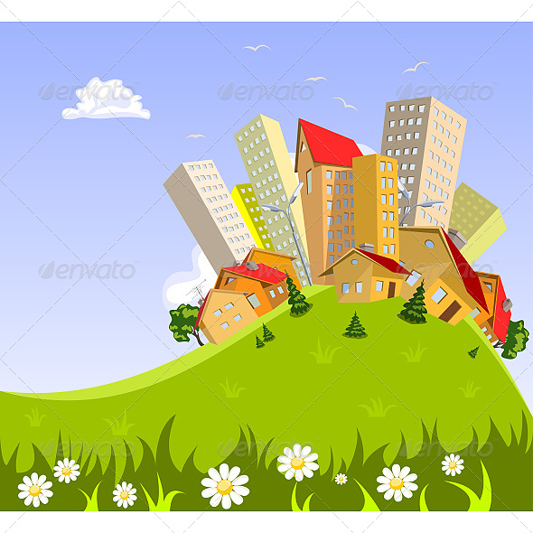 Colorful Abstract Vector City - Buildings Objects