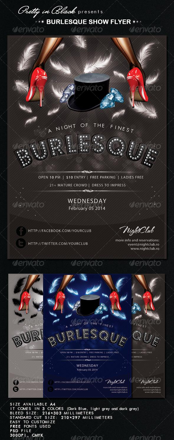 Burlesque Show Flyer - Flyers Print Templates