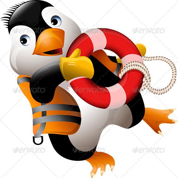 Penguin Lifeguard - Animals Characters