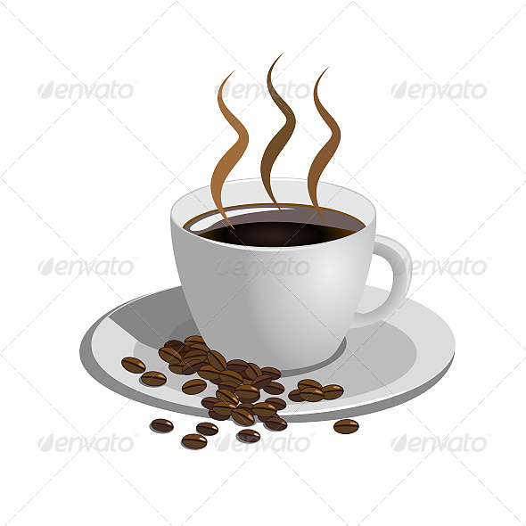 Coffee Cup on White Background - Food Objects