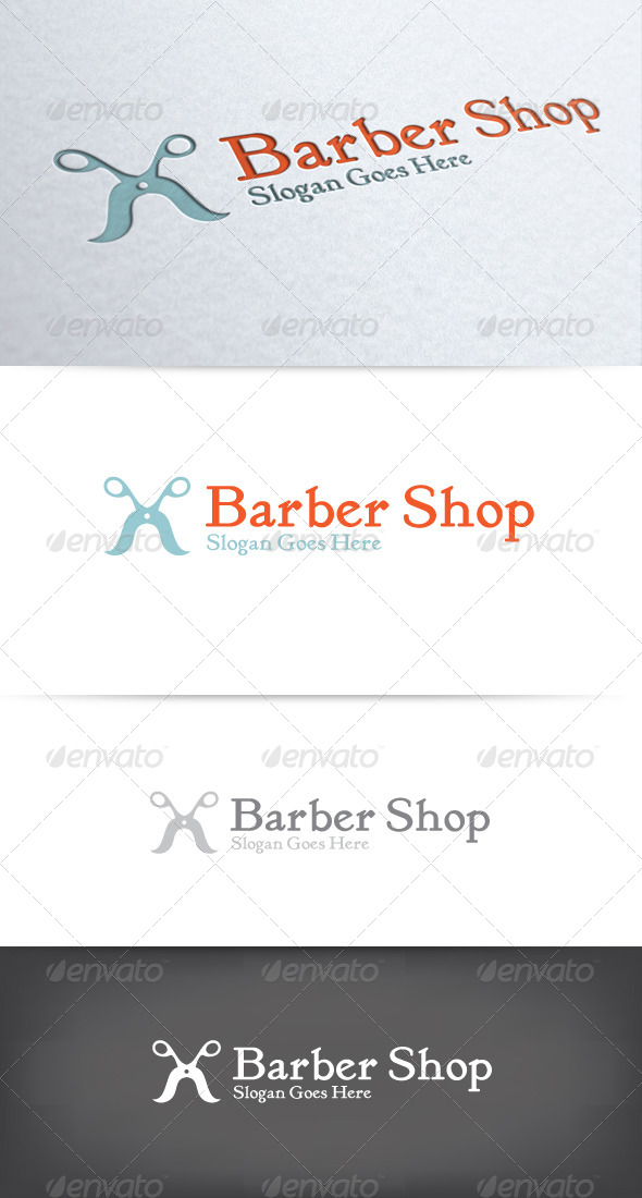 Mustache Scissors Barber Shop Logo - Objects Logo Templates