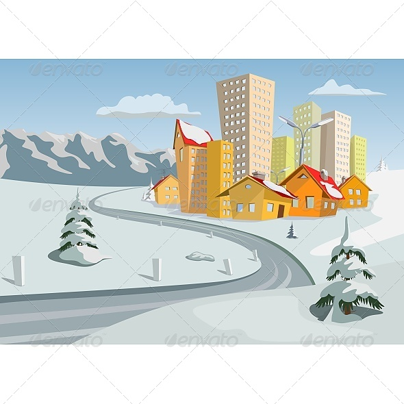 Winter Vector City - Buildings Objects